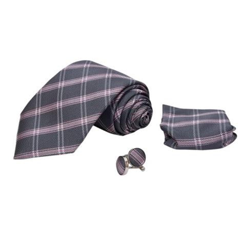 PURPLE STRIPE TIE, POCKET SQUARE AND CUFFLINKS GIFT SET