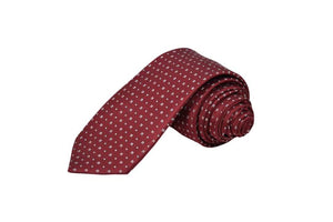 DUSTY STEEL RED TINY DOTS TIE