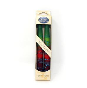 Safed Candles Dipped Tapers Green and Red