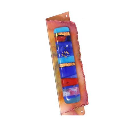 Folded Copper Mezuzah with Glass by Gary Rosenthal