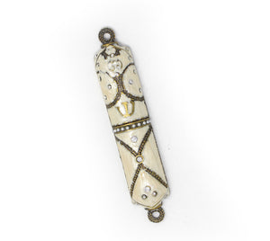 White Jeweled Mezuzah