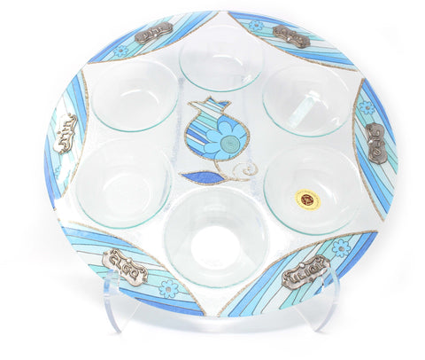 Blue Lines Seder Plate, make in Israel, Lily Art Ltd.