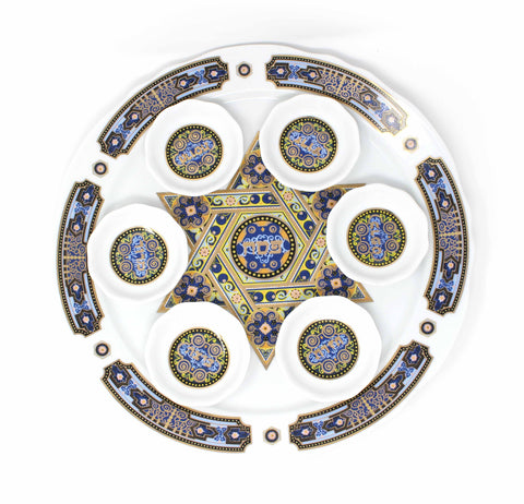 Gold Trim Porcelain Seder Plate with Star of David (7 pcs)
