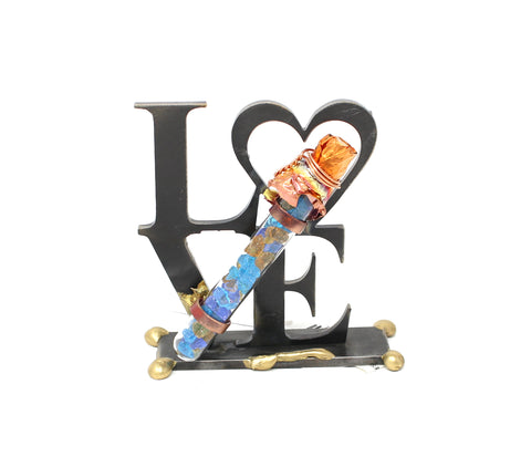 Cut Love Sculpture with Wedding Glass Holder by Gary Rosenthal