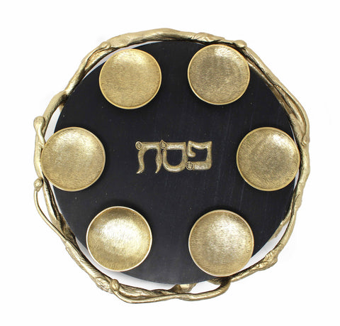 Black Marble and Gold Seder Plate