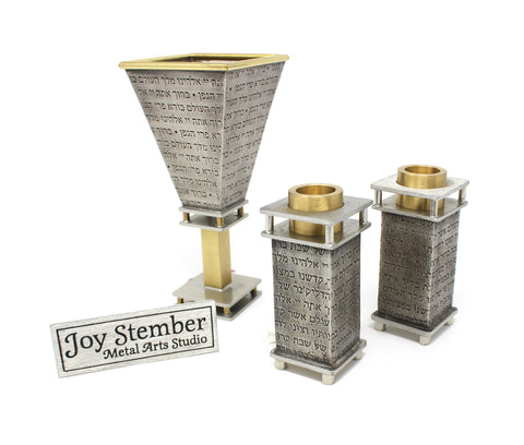 Kiddush Cup and Candlesticks by Joy Stember
