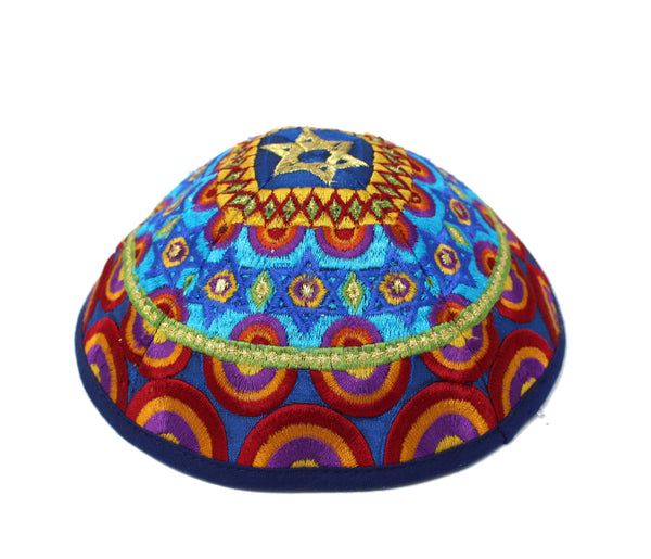 Emanuel Multicolor Embroidered Kippah with Magen David