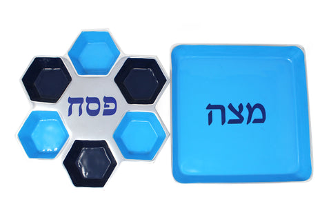 Blue Pedestal Seder and Matzah Plate