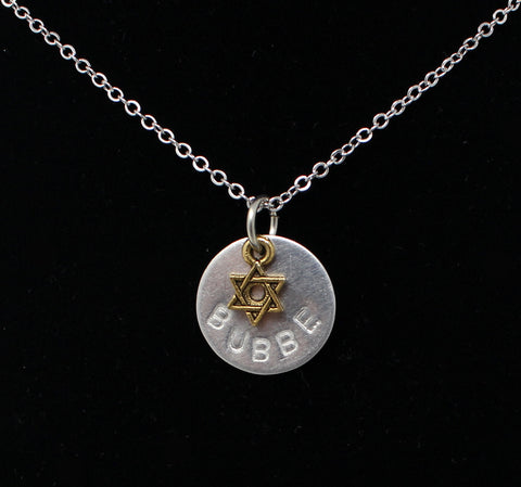 "Bubbe Necklace with Star of David on 16"" Chain"