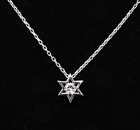 Jewish Star with Single Stone Necklace
