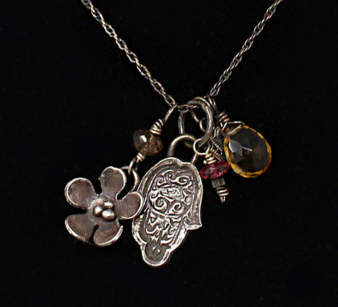 Tourmaline Flower Hamsa Charm Necklace
