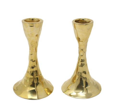 Gold Hammered Candlesticks