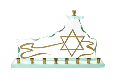 Etched Glass Gold Star Menorah