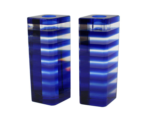 Blue Stripe Glass Candlesticks