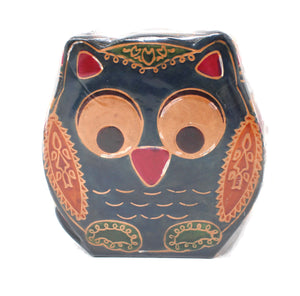 Owl Leather Tzedakah Box