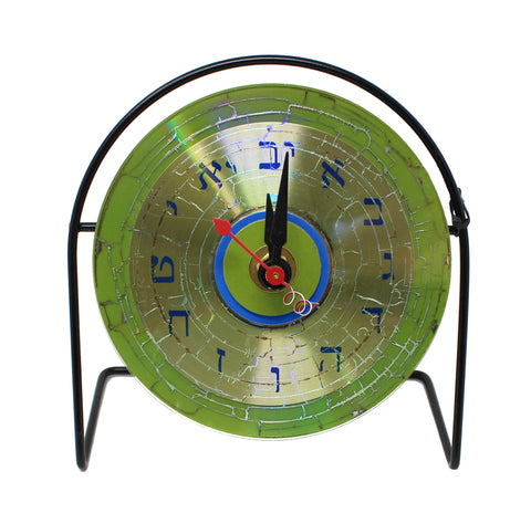 Green CD Clock with Hebrew Face