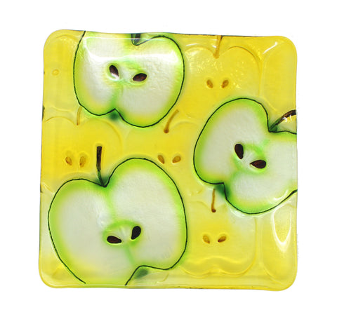 Apples Glass Platter Square