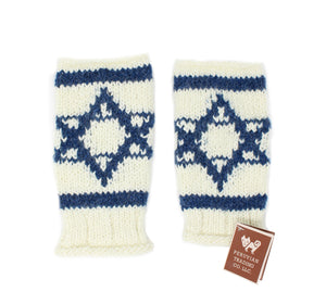 Flag Design Fingerless Knit Mittens