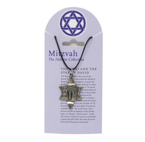 Mitzvah Chai and Star of David Necklace