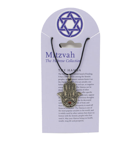 Mitzvah Hamsa with Red Stone Necklace
