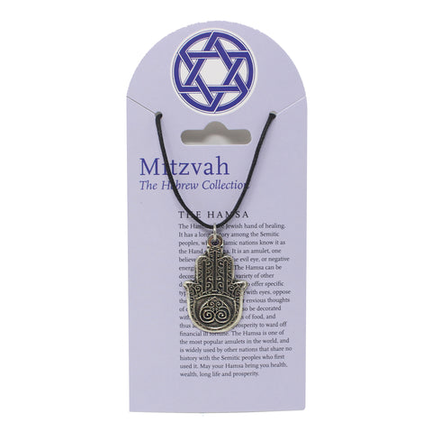 Mitzvah Hamsa with Heart Necklace