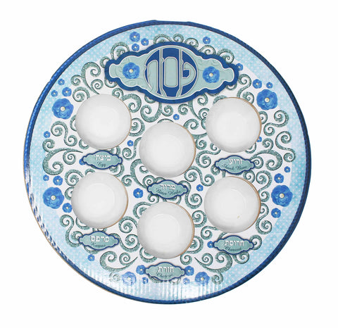 Blue Laminated Disposable Seder Plate