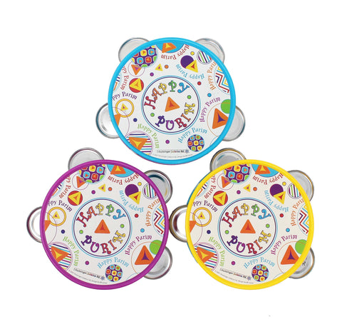 Happy Purim Tambourine, Assorted Colors