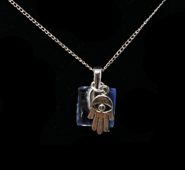 Tiny Hamsa with Blue Stone Necklace