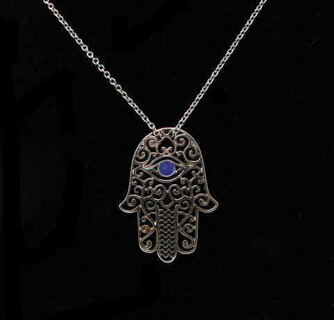 Sterling Hamsa with Eye Necklace