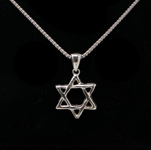3D Sterling Silver Star Of David Necklace