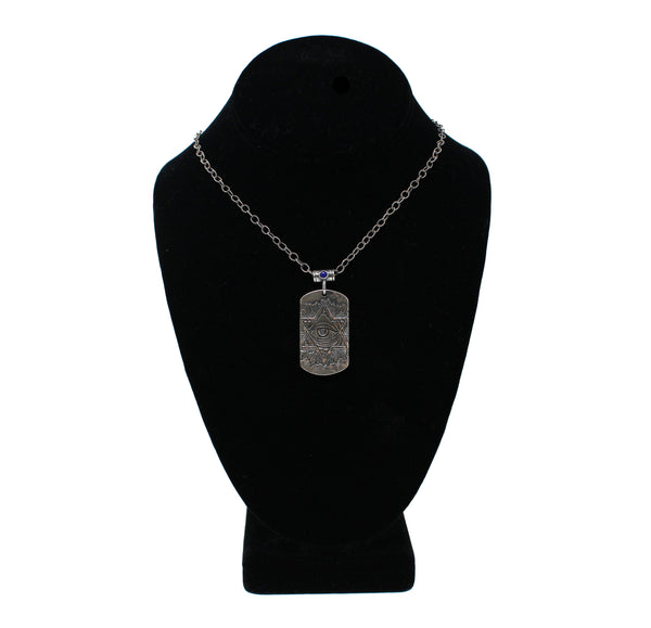 Silver Dog Tag with Blue Gemstone Necklace