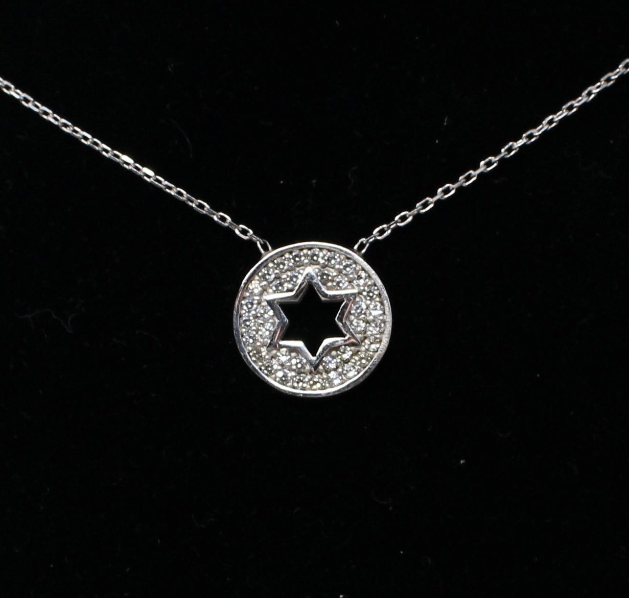 Sterling Silver Cutout Star of David with CZ Necklace
