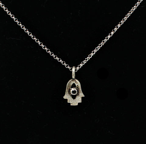 Tiny Hamsa Amulet with Stone Necklace