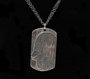 Silver Dog Tag With Hamsa Necklace