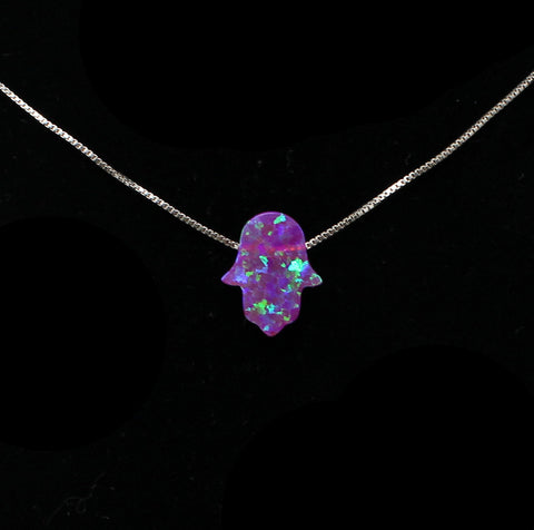 Purple Opalescent Hamsa Necklace