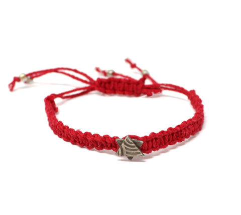 Red Macramae Bracelet Star