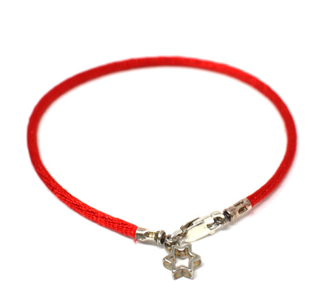 Red Coed Bracelet with Silver Star Outline