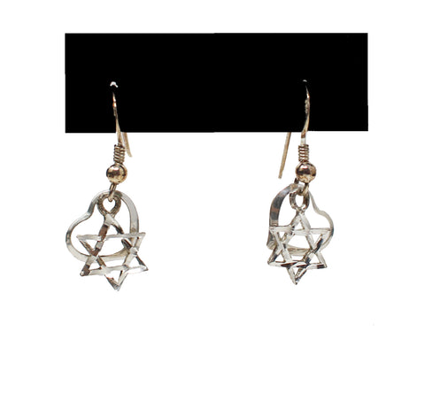 Sterling Silver Dangle Earrings with Heart and Star