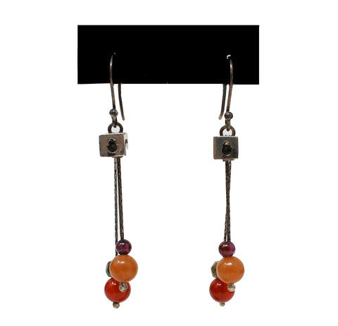 Dangle Cube Earrings with Stones