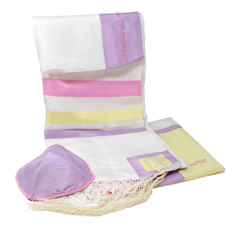 Silk Tallit in Spring Colors