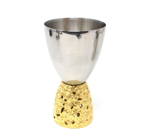 Clouds Gold Trim Silver Kiddish Cup