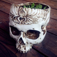 Gothic Skull Head Flower Pot Planter Container Home Bar Ornament Decor #909