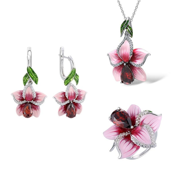 Ladies Peach Blossom Lotus Silver Wedding Jewelry Sets Temperament Elegant Pink Enamel Flower Ring Necklace Earrings Set
