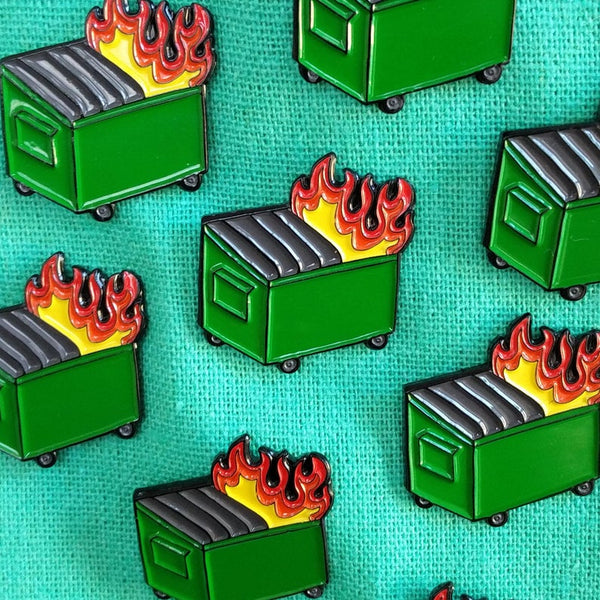 Dumpster Fire Enamel Lapel Pin Badge Pins