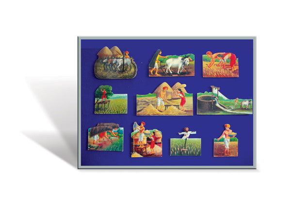 Farming in India - Wooden Flashcard Cut-Outs - Big Size