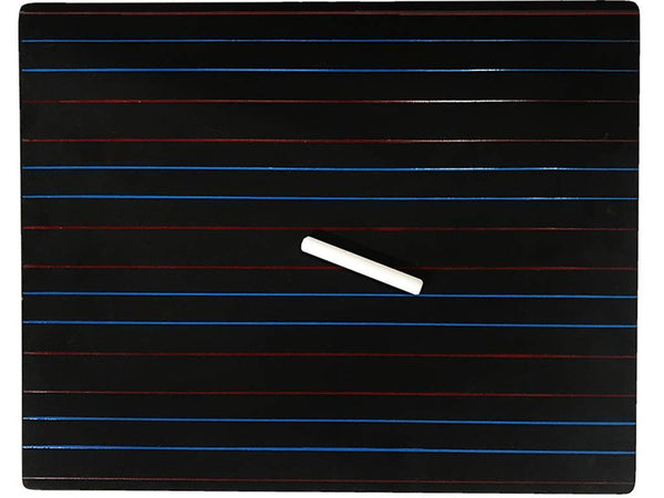 Wooden Black Slate with red and blue lines with a chalk