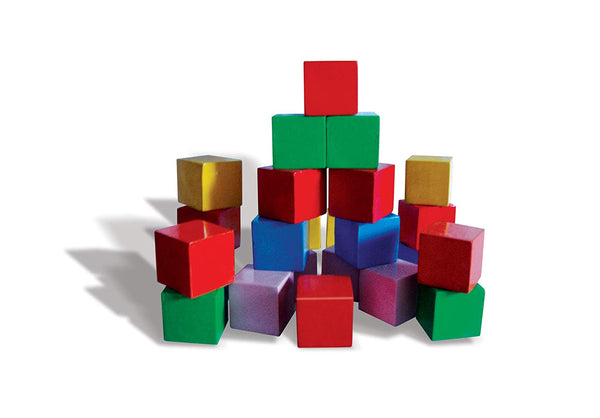 Multi-Colour Solid Wooden Cubical Blocks (Set of 24 Blocks)