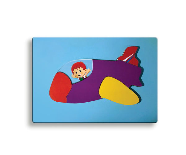 Multi Colour Wooden Jigsaw Puzzle of an aeroplane and a pilot