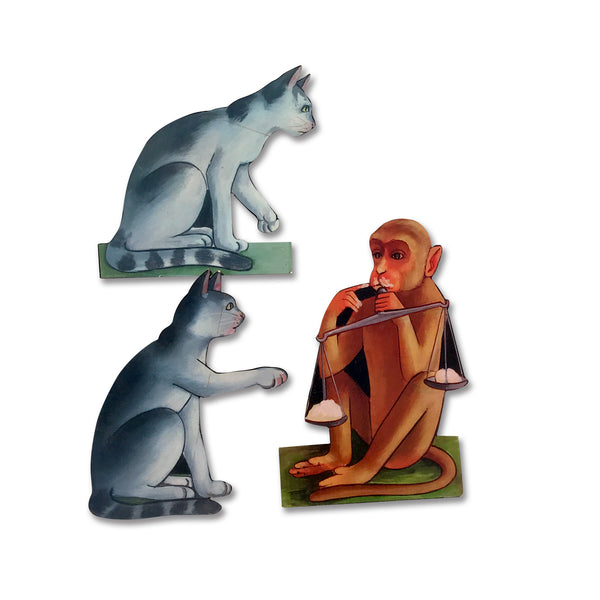 Monkey, Cats and Cheese - Story Cut-outs