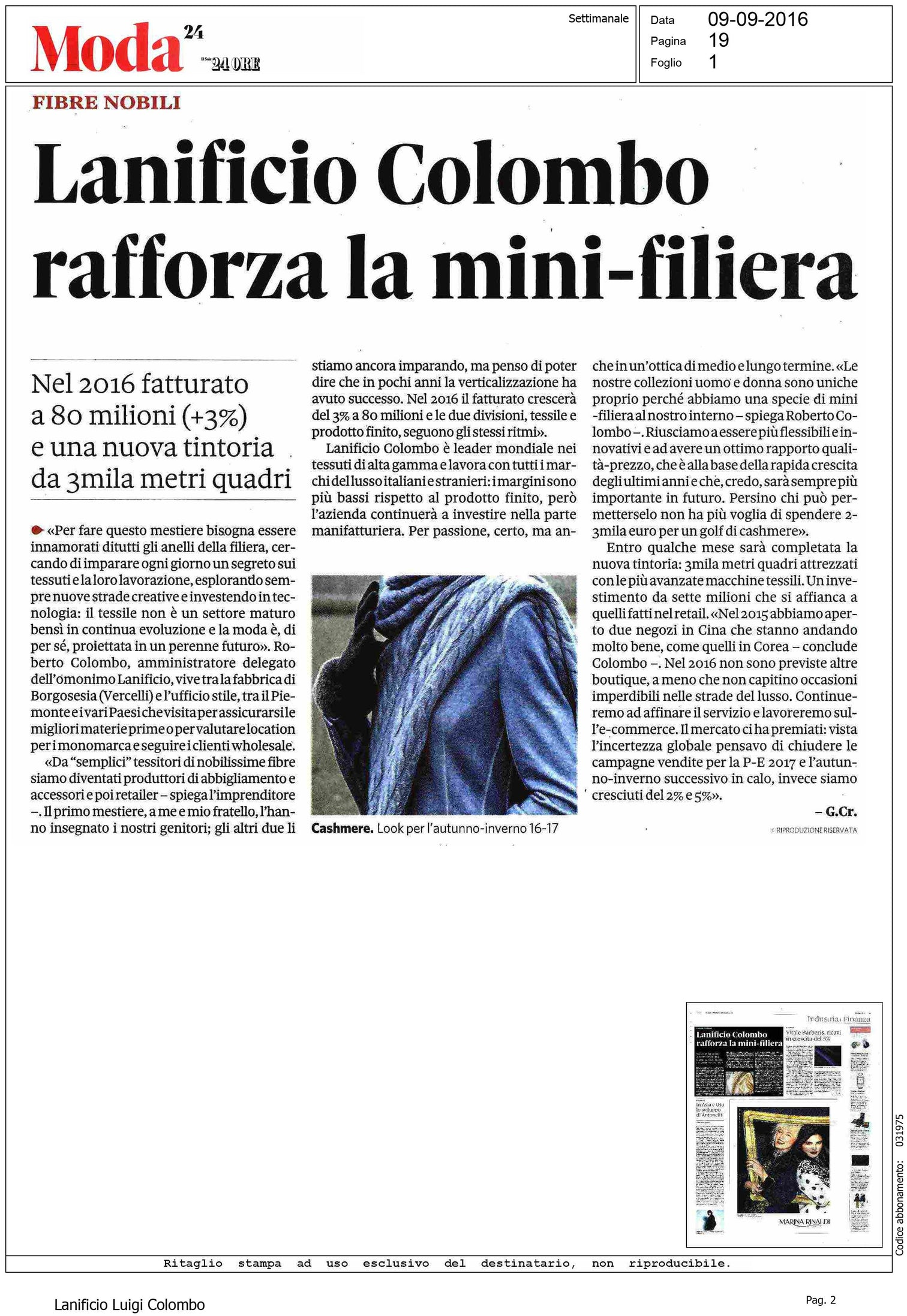 Il Sole 24 Ore - Lanificio Colombo rafforza la mini-filiera
